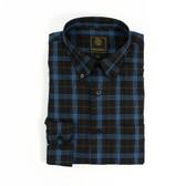 FX Fusion Black/Brown/Blue Multi Plaid Sportshirt - D1308