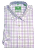 Forsyth of Canada Classic Fit Non-Iron Short Sleeve Multi Check Sport Shirt 8597S-LAV
