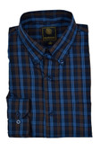 FX Fusion Navy/Brown Textured Plaid Sportshirt