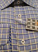 Enzone All Cotton Spread Collar Blue Grid Sportshirt