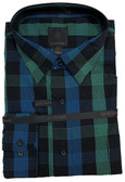 Fusion Black/Teal Plaid Tall Size Sportshirt