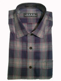Enro Non-Iron Spread Collar Dark Teal Plaid Sportshirt