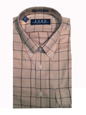 Enro Non-Iron Button Down Collar Tan Grid Sportshirt