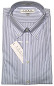 Enro Non-Iron Button Down Collar Light Blue Stripe Dress Shirt