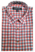 Enro Non-Iron Hidden Button Down Collar White/Orange Grid Sportshirt