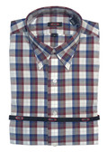Overton Non-Iron Button Down Collar Maroon/Navy Plaid Sportshirt