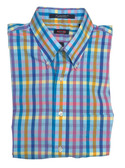 Overton Non-Iron Button Down Collar Multi Check Sportshirt