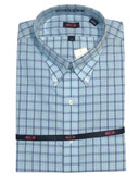 Overton Non-Iron Button Down Collar Navy/Turquoise Check Sportshirt