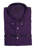 Overton Non-Iron Button Down Collar Solid Purple Sportshirt