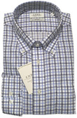 Enro Non-Iron Button Down Collar Blue Check Dress Shirt