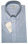 Enro Non-Iron Button Down Collar Light Blue Striped Dress Shirt