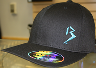 Original B emblem Black with Cyan Blue B curve bill Flexfit hat SKU # 0281-0188