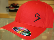 Original B emblem Red with Black B curve bill Flexfit hat SKU # 0281-0601