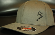 Original B emblem Dark Grey with Black B curve bill Flexfit hat SKU # 0281-1501