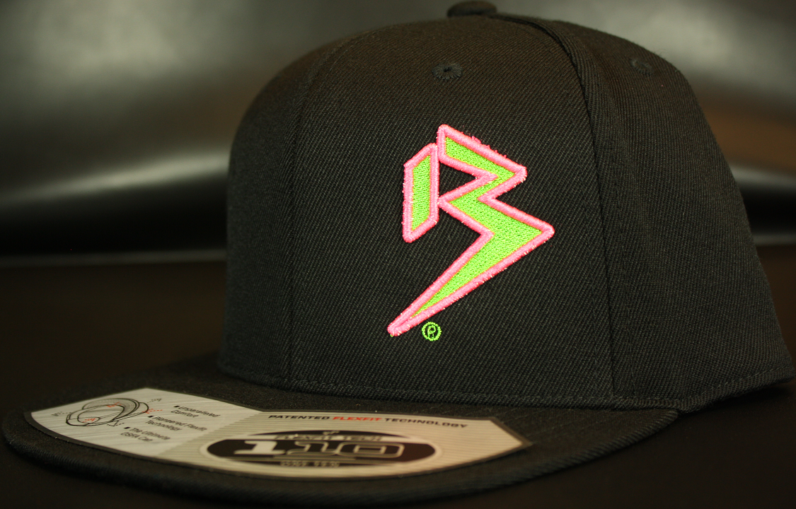 d3dc62a0d7e Two Tone Outline B Neon Green Neon Pink on all Black Snapback ...