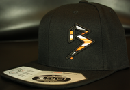 BLITZ Hat Blk/Orange/White on all Black 110 Snapback Sku # 0251S-010702-OSFA