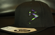BLITZ Hat Blk/Neon Green/Purple on all Black 110 Snapback Sku # 0251S-011225-OSFA