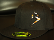 BLITZ Hat Blk/Orange/White on all Black 210 Premium Fitted Sku # 0251F-010702