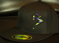 BLITZ Hat Blk/Neon Green/Purple on all Black 210 Premium Fitted Sku # 0251-011225