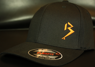 Original B emblem Black with Orange B curve bill Flexfit hat SKU # 0281-0107