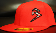 BLITZ Hat Red/Black/White on all Red 210 Premium Fitted Sku # 0251F-060102