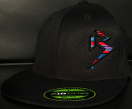 BLITZ Hat Black/Cyan/Red on all Black 210 Premium Fitted Sku # 0251F-018806