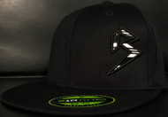 BLITZ Hat Black/White/Black on all Black 210 Premium Fitted Sku # 0251F-010201