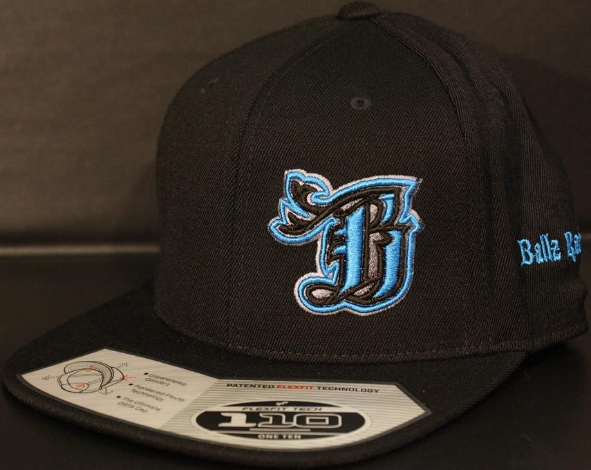 9953eb7010aab BR logo Cyan Black on all Black 110 SNAPBACK Hat Flat Bill hats ...