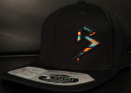 BLITZ BLACK/AQUA/ORANGE on all Black 110 SNAPBACK Hat