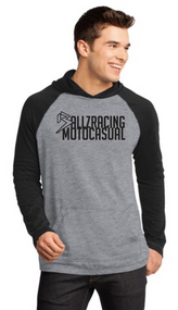 STEP UP RAGLAN HOODIE - BLACK/HEATHER NICKEL