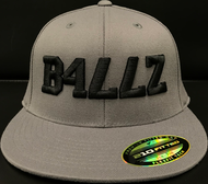 B477Z Black on DARK GREY 210 Fitted Flat Bill SKU # 0248F-1501