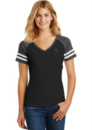 B GAME DAY - V-NECK - BLACK/HEATHER CHARCOAL