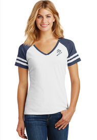 B GAME DAY - V-NECK - WHITE/HEATHER NAVY