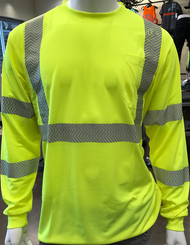 Class 3 High-Visibility YELLOW/LIME Long Sleeve T-Shirt w/SEGMENTED REFLECTIVE TAPE & X ON BACK