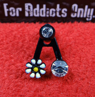 "Black Daisy Gem ""A"" Frame with Straight Barbell"