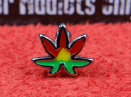 Rasta Colored Marijuana Leaf with Straight Bar