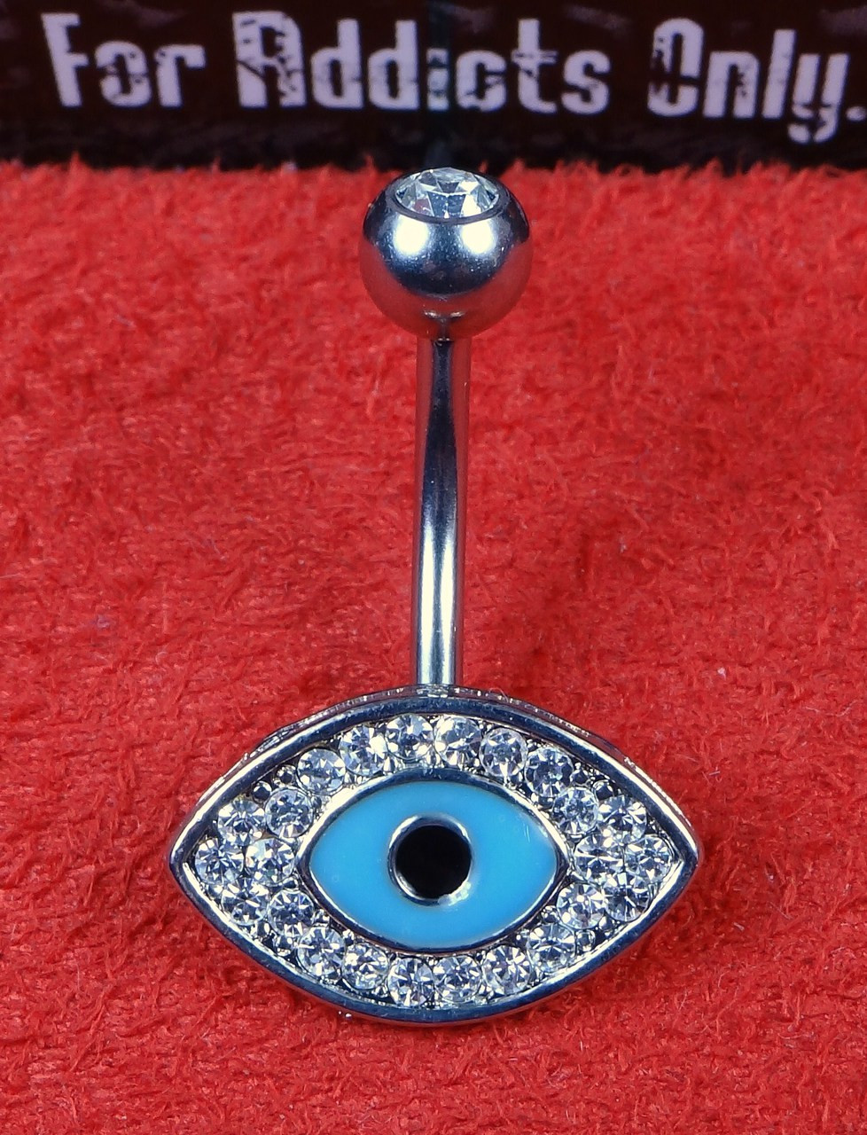 Blue Lucky Evil Eye Clear Gem Belly Ring