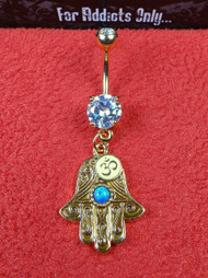 Gold Hamsa Opal Ohm Sign Dangle Belly Ring