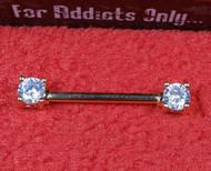 Gold Double Clear Gem Prong Nipple Bar