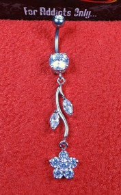 Silver Flower Vine Clear Gem Dangle