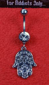 Silver Filigree Hamsa Dangle Belly Ring