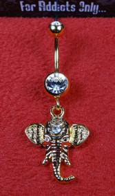 Gold Ganesha Dangle Belly Ring