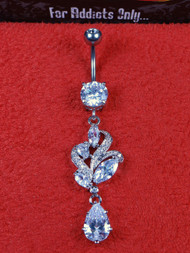 Silver Marquise Cluster Clear Dangle Belly Ring