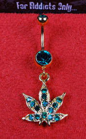 Gold Marijuana Leaf Green Gem Dangle Belly Ring
