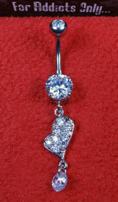Silver Clear Gem Heart  Dangle Belly Ring