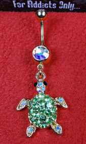 Gold Aurora Borealis Sea Turtle Dangle Belly Ring