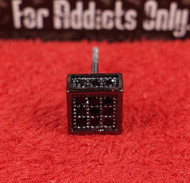 3-D 9 Gem Square Black on Black Custom Earring