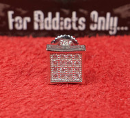 16 Clear Gem Square Silver Gem Custom Earring