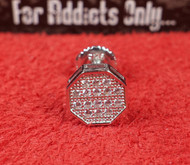 14 Clear Gem Hexagon Silver Custom Earring