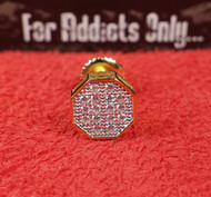 16 Clear Gem Gold Hexagon Custom Earring
